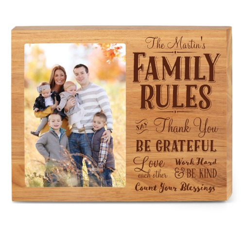 Family Rules Wood Frame, - Photo insert, 10x8 Engraved Wood Frame, White