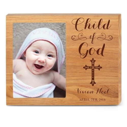 Child of God Wood Frame, - Photo insert, 10x8 Engraved Wood Frame, White