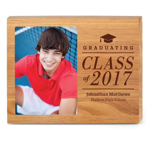 Graduation Caps Wood Frame, - No photo insert, 10x8 Engraved Wood Frame, White