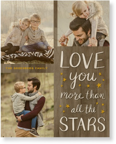 Whimsy Love Stars Wood Wall Art, Single piece, 16 x 20 inches, Brown