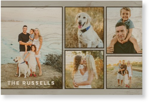 Rustic Grid Collage Wood Wall Art, Single piece, 24 x 36 inches, Gray