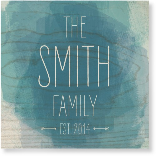 Watercolor Family Wood Wall Art, Single piece, 12 x 12 inches, Blue