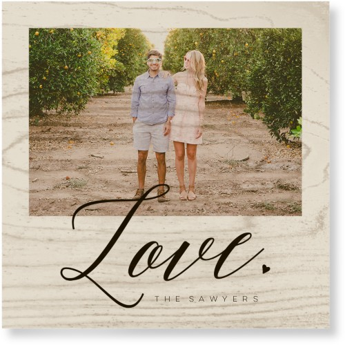 Modern Love Script Wood Wall Art, Single piece, 12 x 12 inches, Gray
