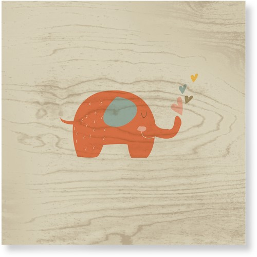 Heart Elephant Wood Wall Art, Single piece, 16 x 16 inches, Multicolor