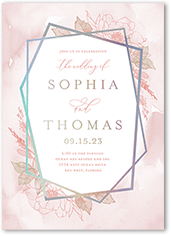 etched floral wedding invitation