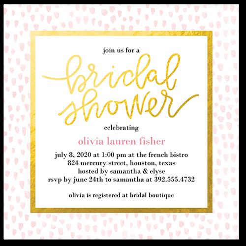 Dotted Bride Bridal Shower Invitation, Square Corners