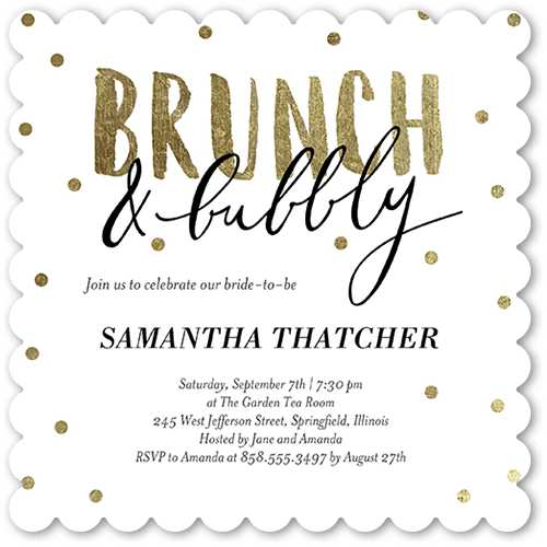Bubbly Brunch 5x5 Flat Bridal Shower Invitation Shutterfly