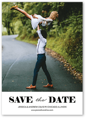 Clean Announcement Save The Date, Square Corners