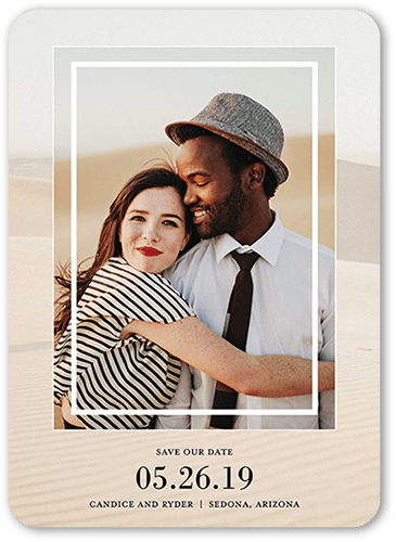 Framed Affection Save The Date, Rounded Corners