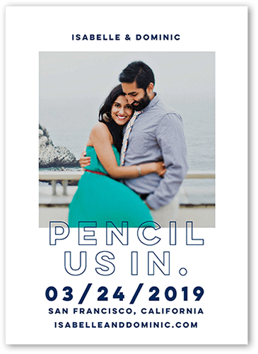 Pencil Us In Save The Date, Square Corners