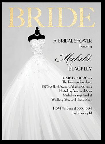 Exquisite Bride Bridal Shower Invitation, Square Corners