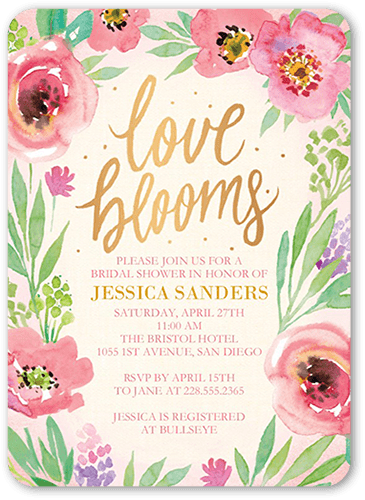 Ladylike Blossoms Bridal Shower Invitation, Rounded Corners