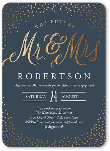 Sparkling Future Engagement Party Invitation, Rounded Corners
