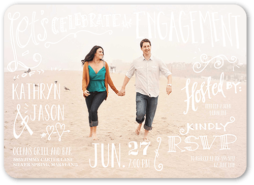 Whimsical Writing Engagement Party Invitation, Square