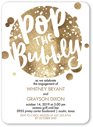 Bubbly Affair Engagement Party Invitation, Rounded Corners