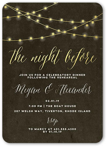 Glowing Night Rehearsal Dinner Invitation, Rounded Corners