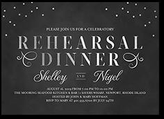 dazzling script confetti rehearsal dinner invitation