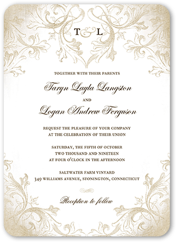 Faded Scroll 5x7 Wedding Invitations