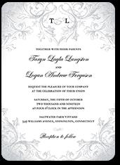 faded scroll wedding invitation