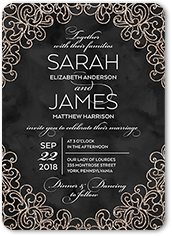 sparkling lace wedding invitation