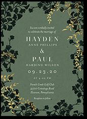 lavish leaves wedding invitation