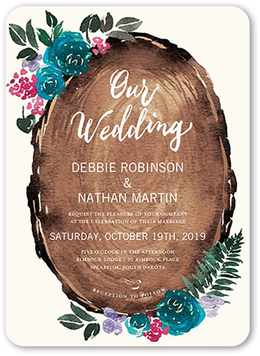 Gorgeous Blossoms Wedding Invitation, Rounded Corners