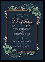 brushed botanicals wedding invitation