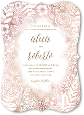 floral silhouette wedding invitation