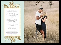 bronze botanicals wedding invitation
