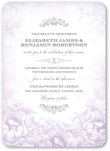 Precious Peonies Wedding Invitation, Rounded Corners