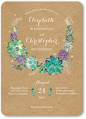 splendid succulent wedding invitation