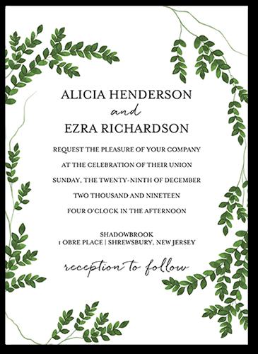 Charming Greenery Wedding Invitation, Square Corners