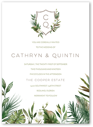 Tropical Herald 5x7 Wedding Invitations Shutterfly