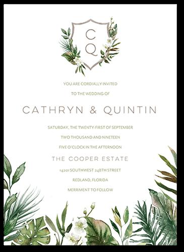 Tropical Herald Wedding Invitation, Square Corners