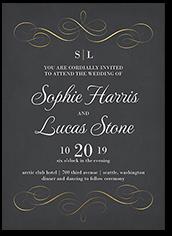 whimsical swirls wedding invitation