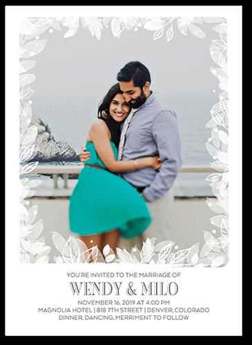 Wispy Leaves Wedding Invitation, Square Corners