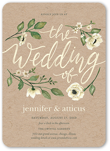 Delightful Blooms Wedding Invitation, Rounded Corners