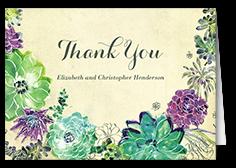 splendid succulent thank you card
