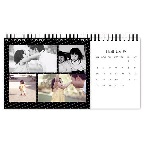 black white backdrop desk calendar