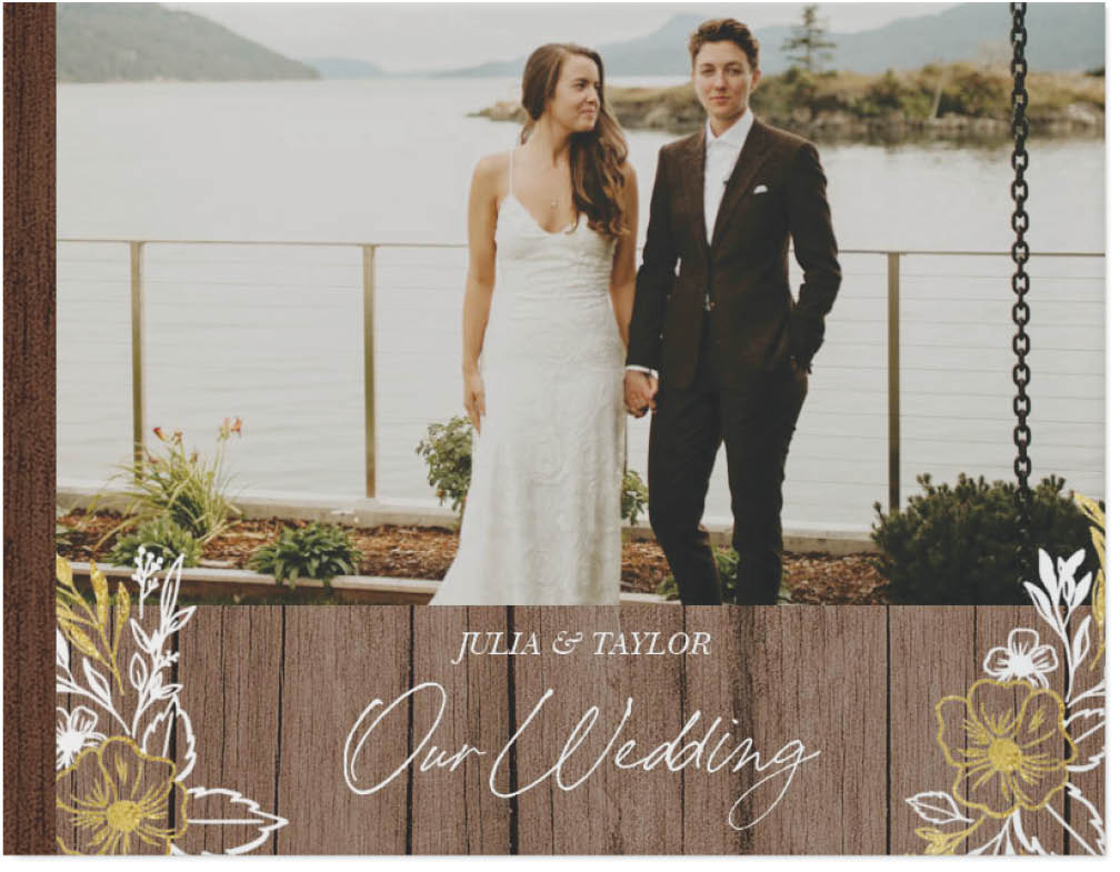 rustic gilded wedding photo book